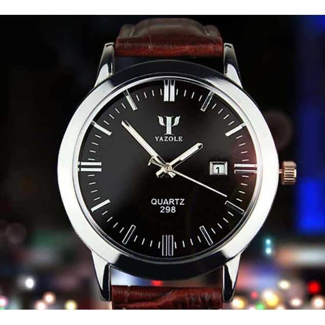 Men's Leather Analog Quartz Waterproof Wrist Watch