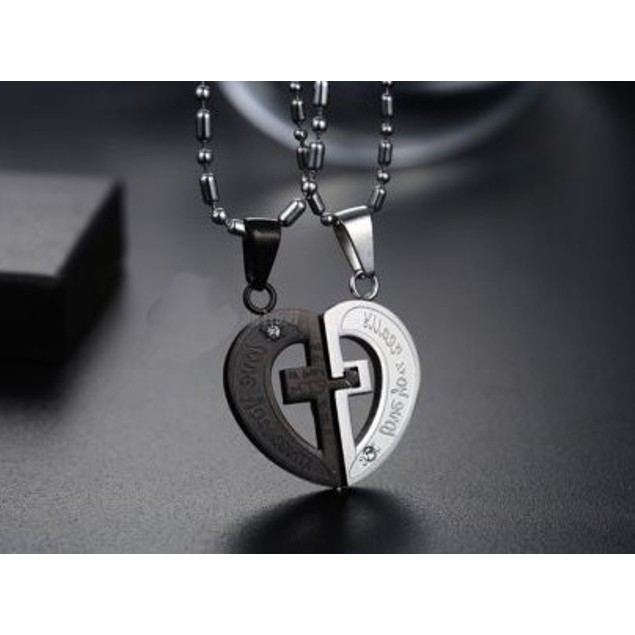 Love You Really Puzzle Cross Heart Couple Necklace