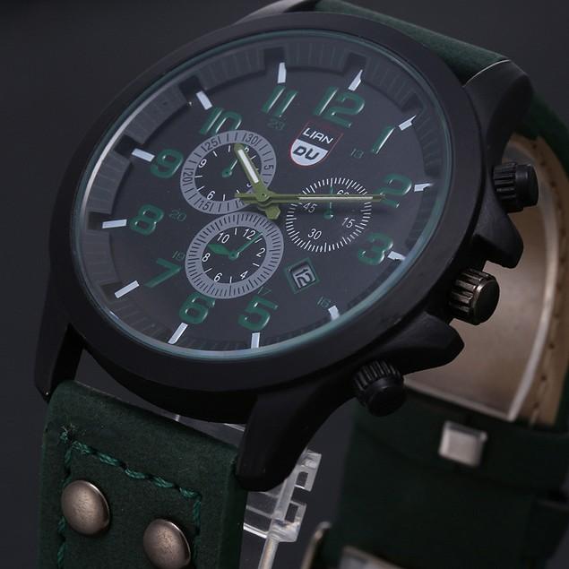 Men's Waterproof Date Leather Strap Sport Quartz Army Watch