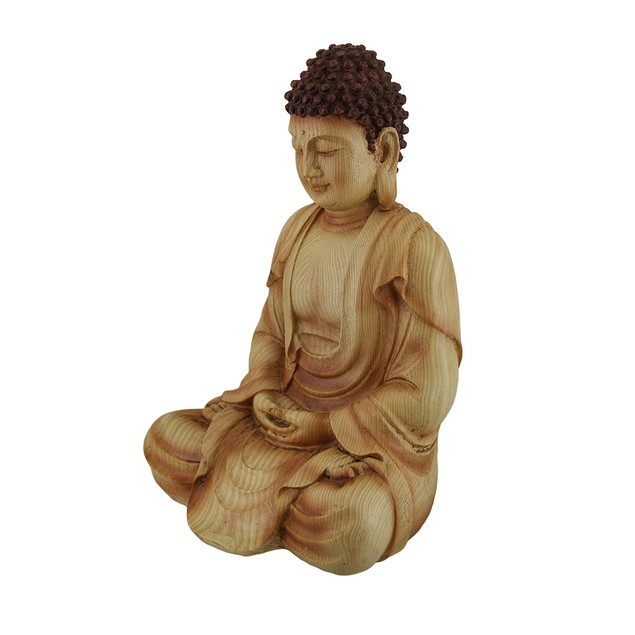 Sitting Meditating Buddha Decorative Faux Carved Statues