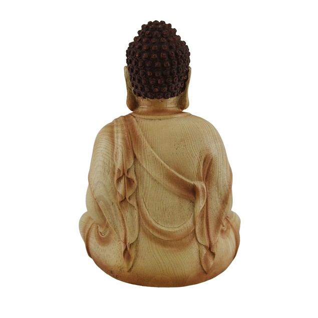 Sitting Meditating Buddha Decorative Faux Carved Statues