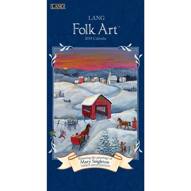 Lang Folk Art Slim Wall Calendar, Lang Folk Art by Calendars