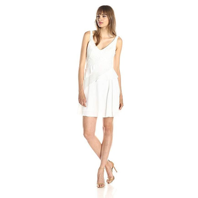 French Connection Women's Ripple Lace Dress, Summer White, 8