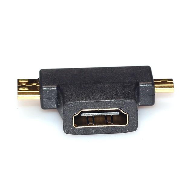 3 in 1 HDMI Female to HDMI Male + Micro HDMI Male Adapter Connector