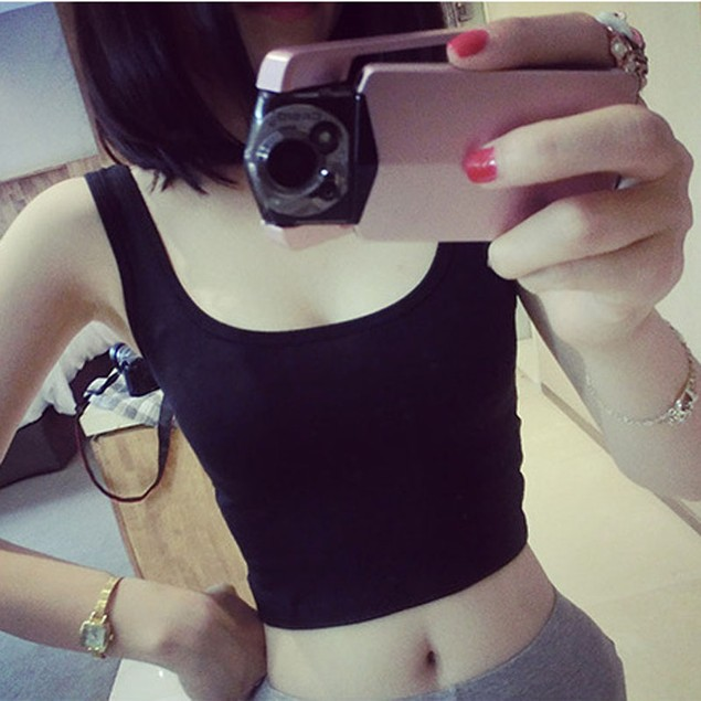Women Tight Crop Top Skinny O-Neck T-Shirts Sports Short Vest