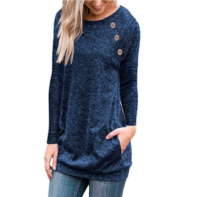 Women's Long Sleeve Blouse with Pocket