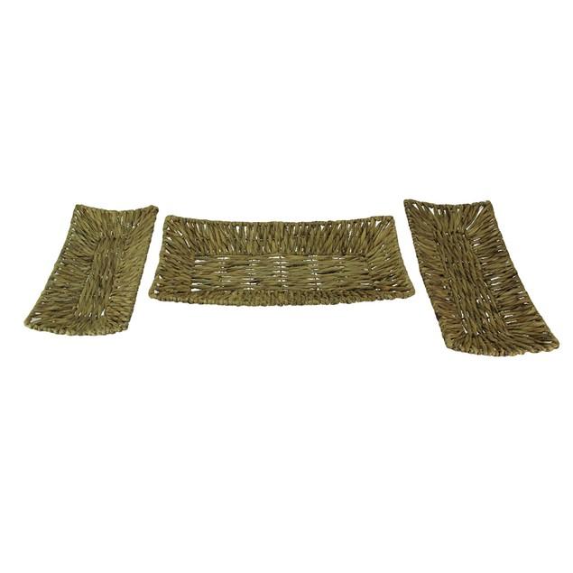 Set Of Three Woven Water Hyacinth Decorative Trays Decorative Trays