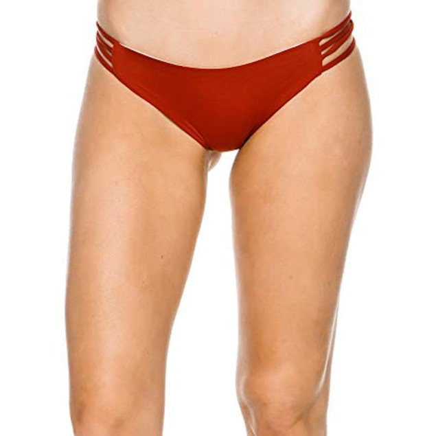 L Space Women's Low Down Reversible Bikini Bottom Nylon Spandex Red SZ