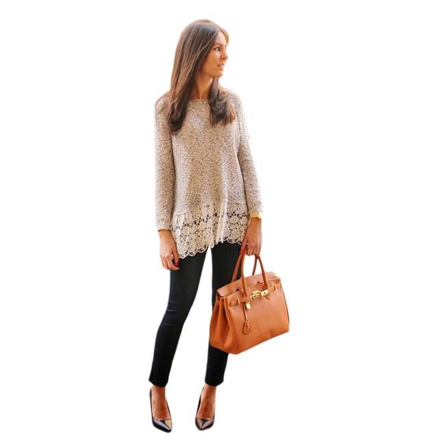 Women Long Sleeve Shirt Lace Blouse Slim Knitwear Tops T Shirt
