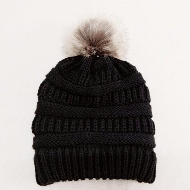Women Winter Warm Crochet Knit Faux Fur Pom Pom Beanie Hat Cap t