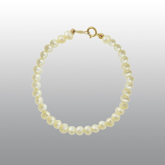Girls Solid 10k Yellow Gold Pearl Bracelet 5.5 inch