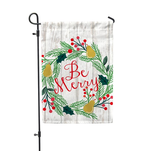 Be Merry Christmas Holiday Garden Flag