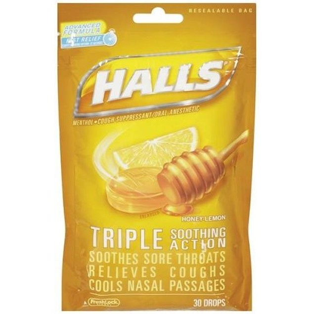 Halls Menthol Oral Anesthetic Drops Honey Lemon 2 Bag Pack