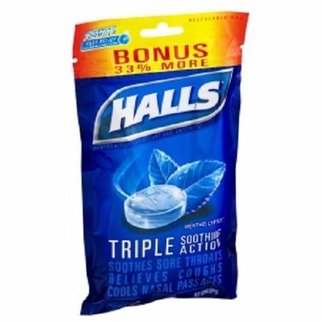 Halls Menthol Oral Anesthetic Drops Mentho-Lyptus 2 Bag Pack