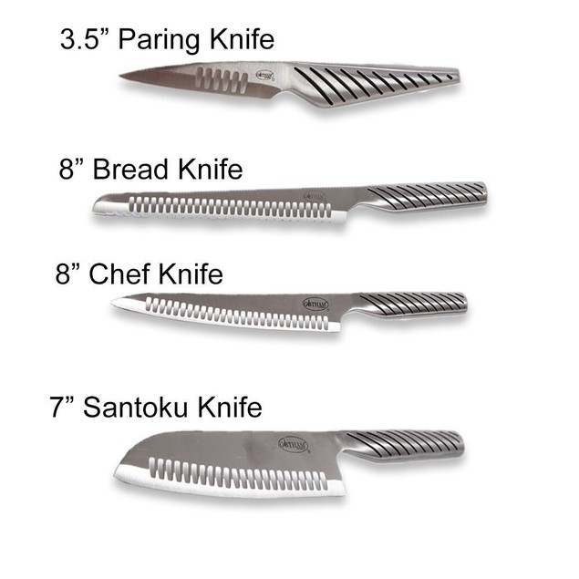 Gotham Steel Pro Cut Stainless Steel 4-Piece Knife Set - AS SEEN ON TV