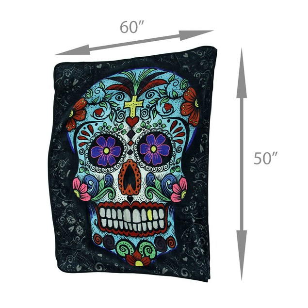 Day Of The Dead Sugar Skull Plush Throw Blanket 50 Throw Blankets