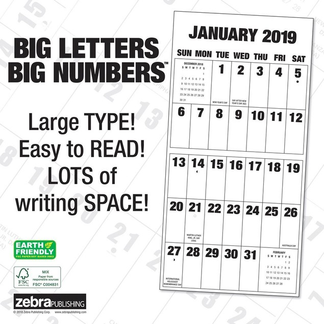 Big Letters Big Numbers Wall Calendar, Big Grid by Calendars