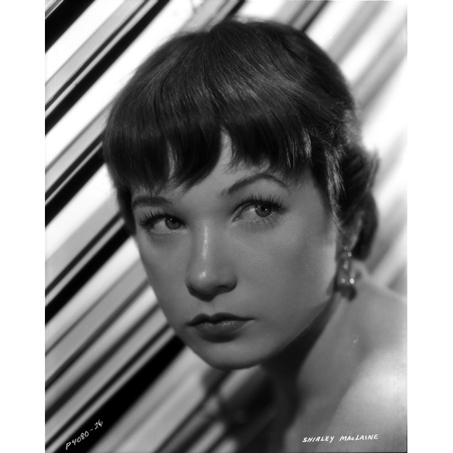 Shirley MacLaine Portrait in White Dress and Pearl Necklace with Eyes Looki