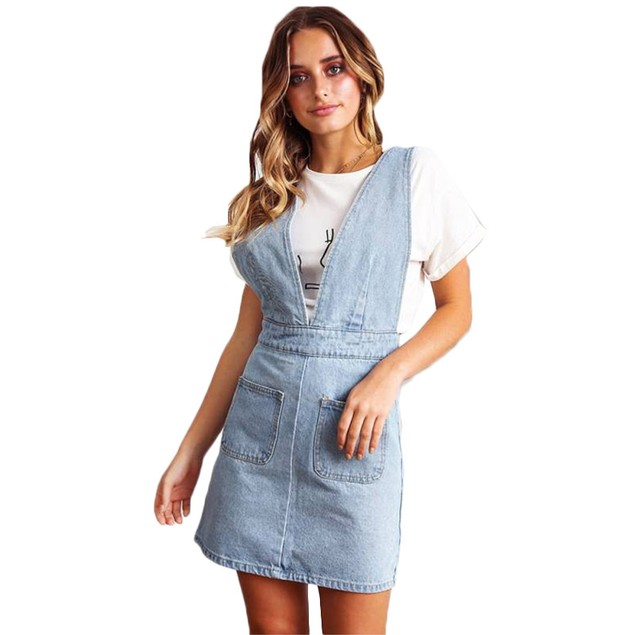 Women's Classic Denim Overall Dress