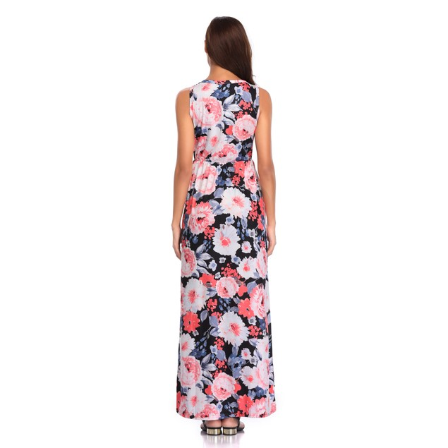 Women's Colorful Flower Print Maxi Dress
