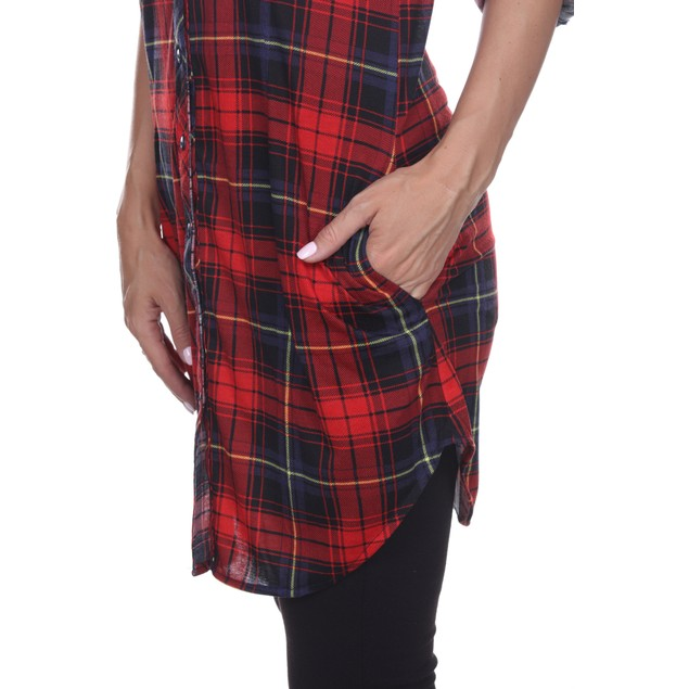 Women's Piper Plaid Tunic with Pockets - 6 Colors