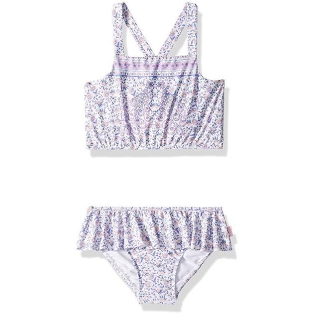 Seafolly Girls' Big Tankini Swimsuit, Multi, 12