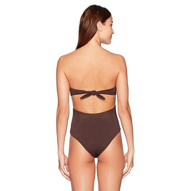 Mara Hoffman Women's Lattice Underwire One Piece Swimsuit, Brown, M