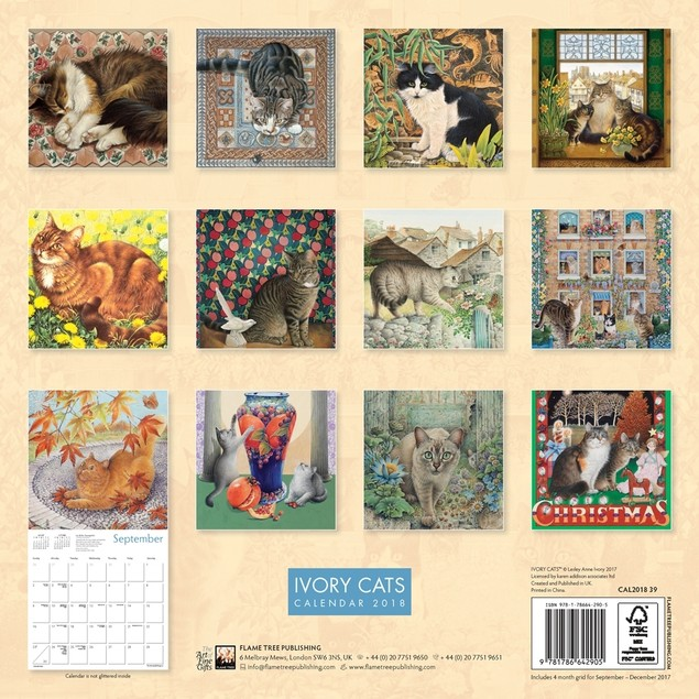Ivory Cats By Lesley Anne Ivory Wall Calendar