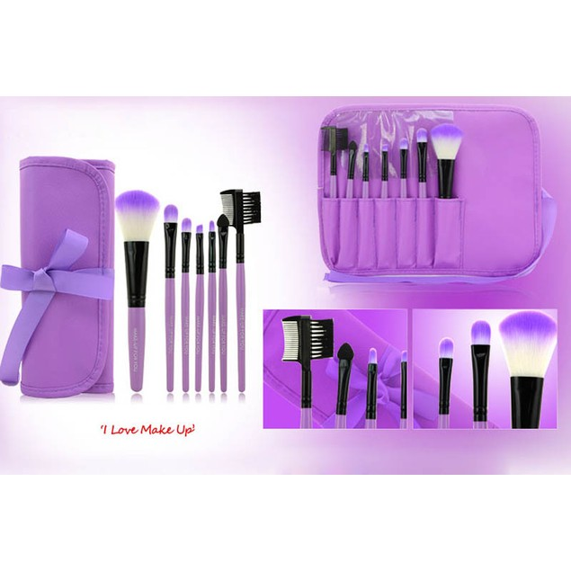 7-Piece Wood Makeup Brushes Kit with Bag