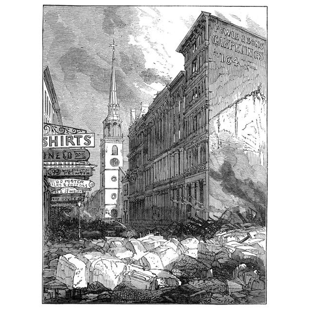 Boston: Fire, 1872. /Nruins Of Buildings On Washington Street, Looking Towa