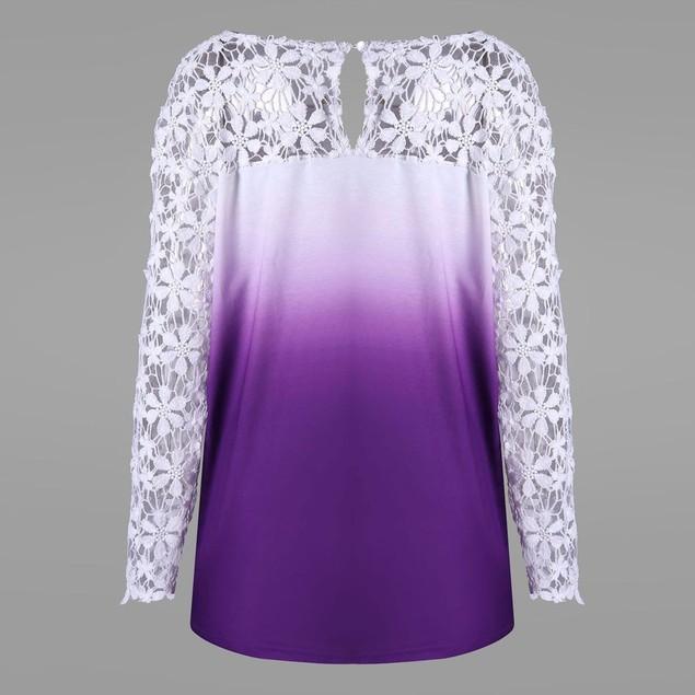 Womens Printing Lace Shirt Long Sleeve Shirt Casual Tops Ladies Blouse