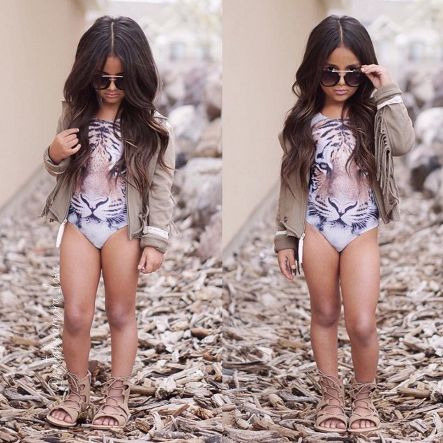 Baby Girl Tiger Pattern One Piece Swimsuit Swimwear Bathing Suit Clothes