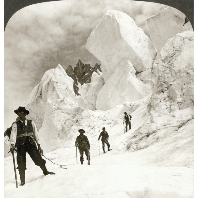 Alpine Mountaineers, 1908. /N'Ascent Of Mont Blanc, Passing Enormous Ice Cl