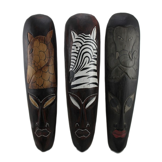 Set Of 3 African Wildlife Wooden Wall Masks Decorative Masks