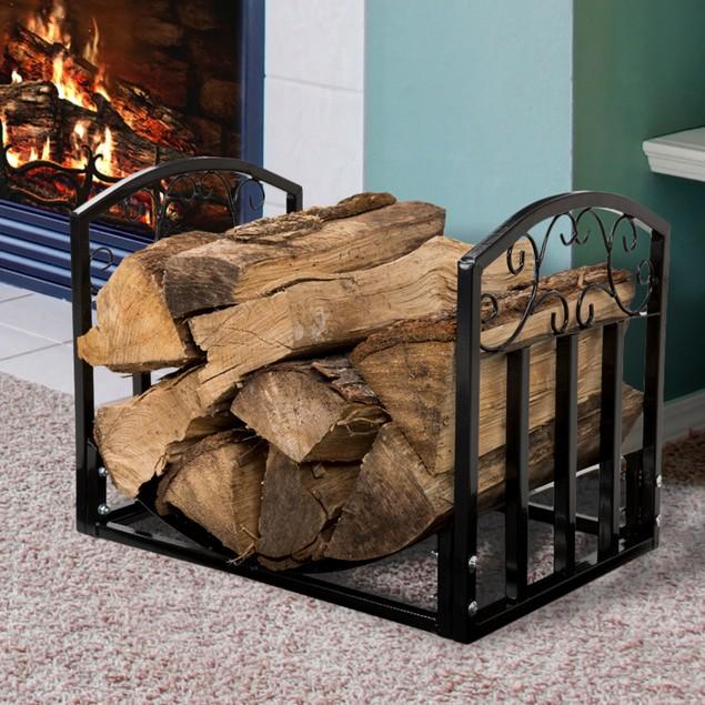 Pure Garden Fireplace Log Bin with Scrolls - Black
