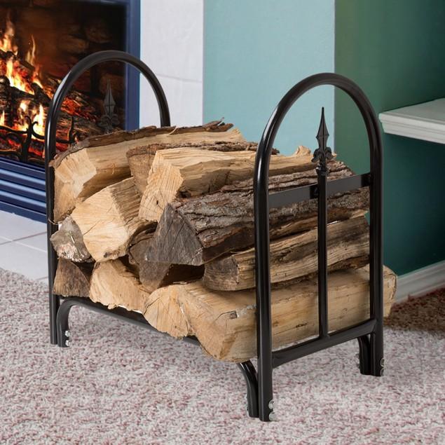 Pure Garden Fireplace Log Rack with Finial Design - Black