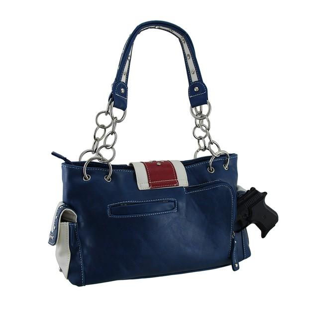 American Flag Rhinestone Buckle Western Concealed Womens Shoulder Handbags