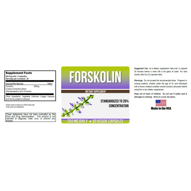 Pure Forskolin Extract 20% - 2 Month Supply!