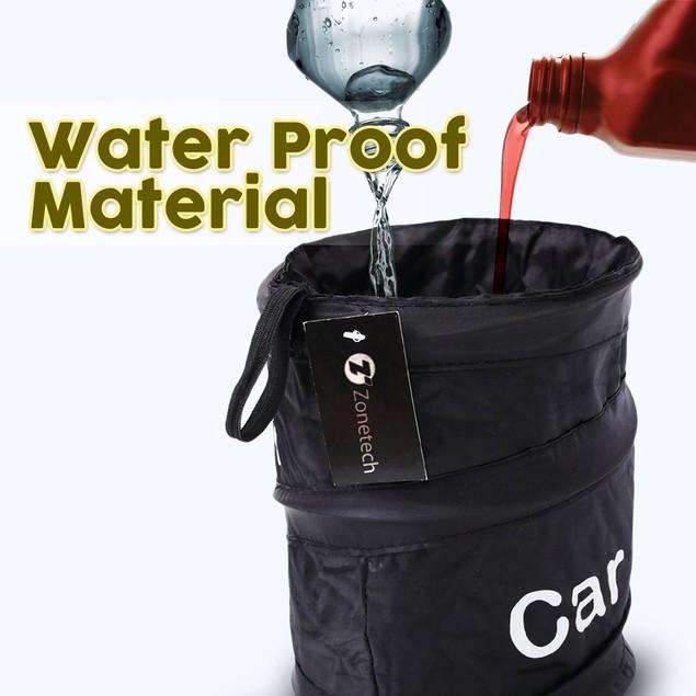 Zone Tech 2x Portable Car Trash Can Black Collapsible Pop-up Leak Proof Bin