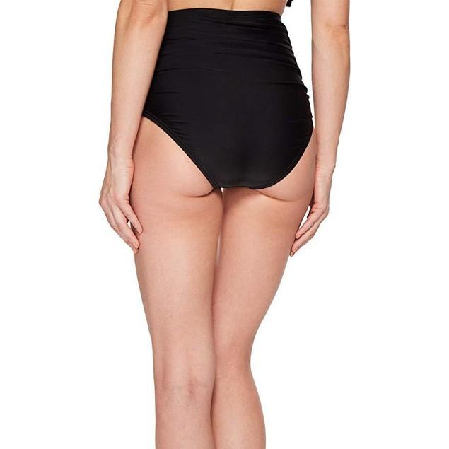 Unique Vintage Women's Georgiana Ruched Bottom Solid Black X-Large