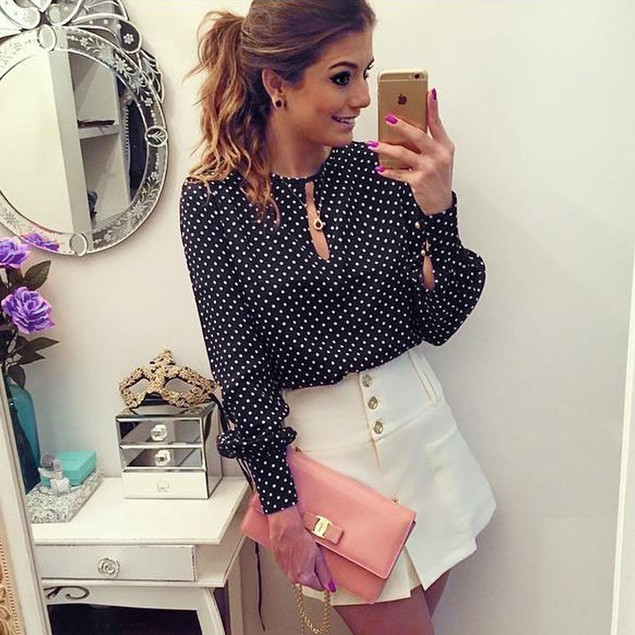 Women Long Sleeve Blouses Chiffon Polka Dots Shirt Tops