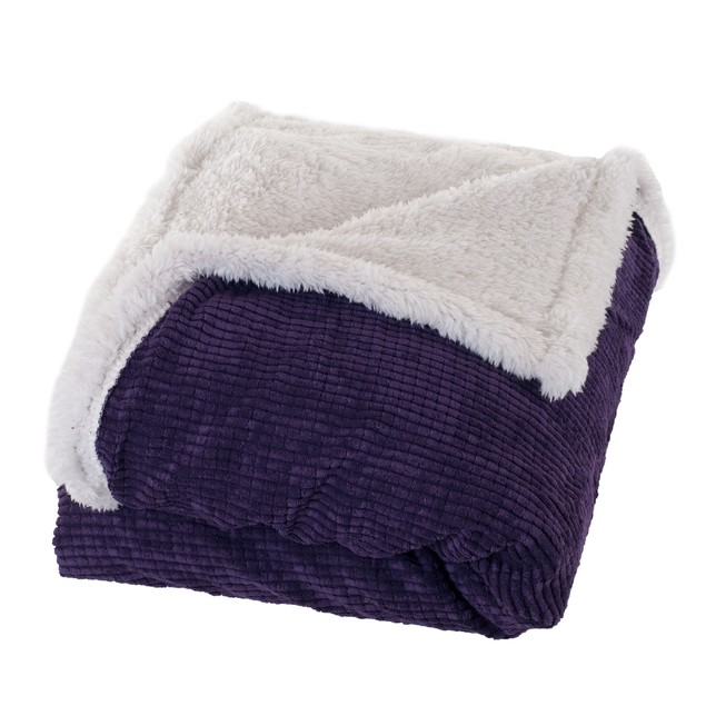 Lavish Home Plush Corduroy Sherpa Throw