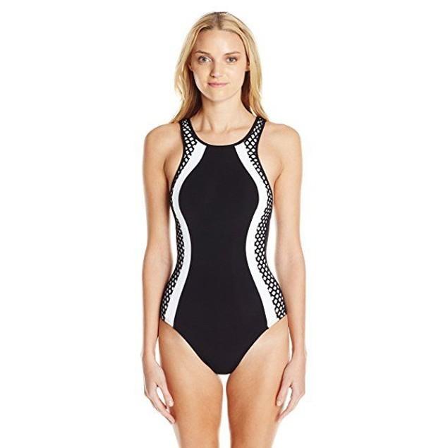 JETS by Jessika Allen Women's Luxe High Neck One Piece Swimsuit Black SZ 6