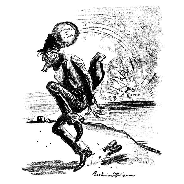 World War I: Cartoon, 1915. /N'The Innocent Bystander.'/Ncartoon, 1915, By