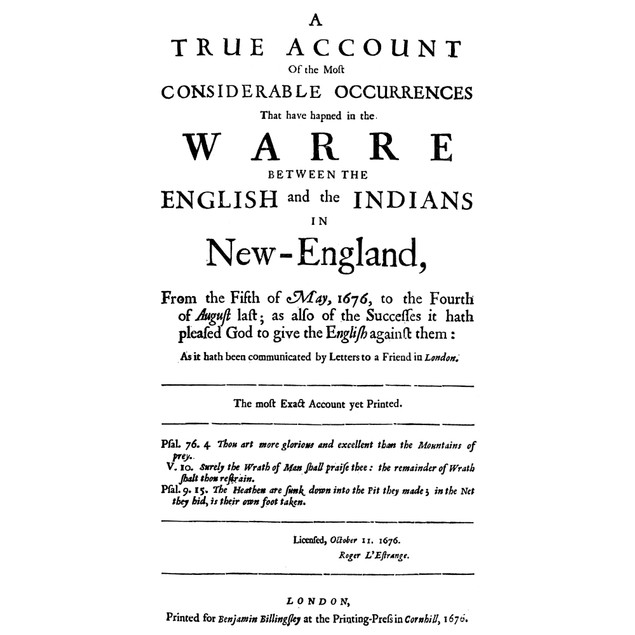 King Philip'S War, 1676. /Ntitle-Page Of A Work Relating To King Philip'S W