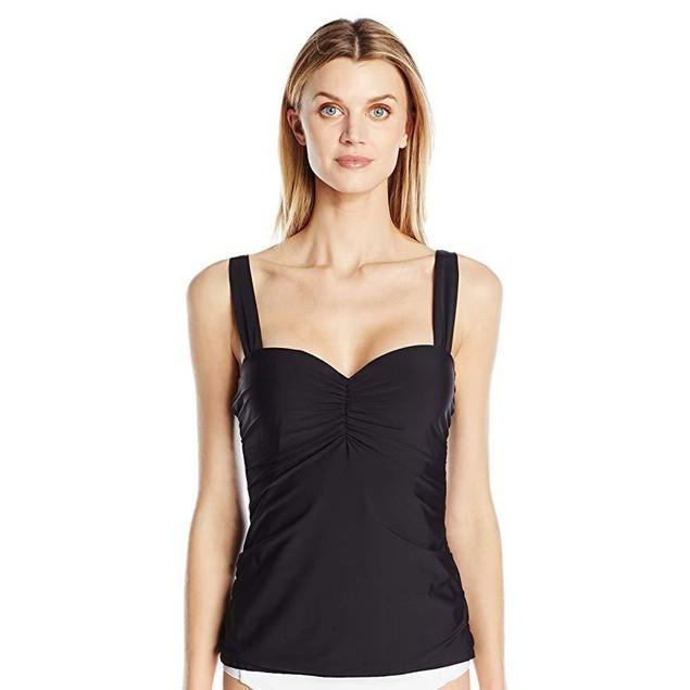 Athena Women's Underwire Supportive Swimsuit Tankini Top BLACK 38 B/C
