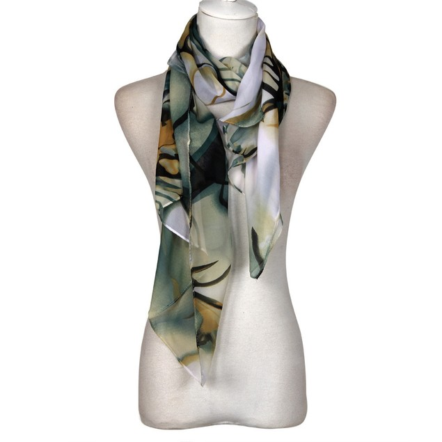 Long Watercolor Floral Chiffon Scarf - 2 Colors