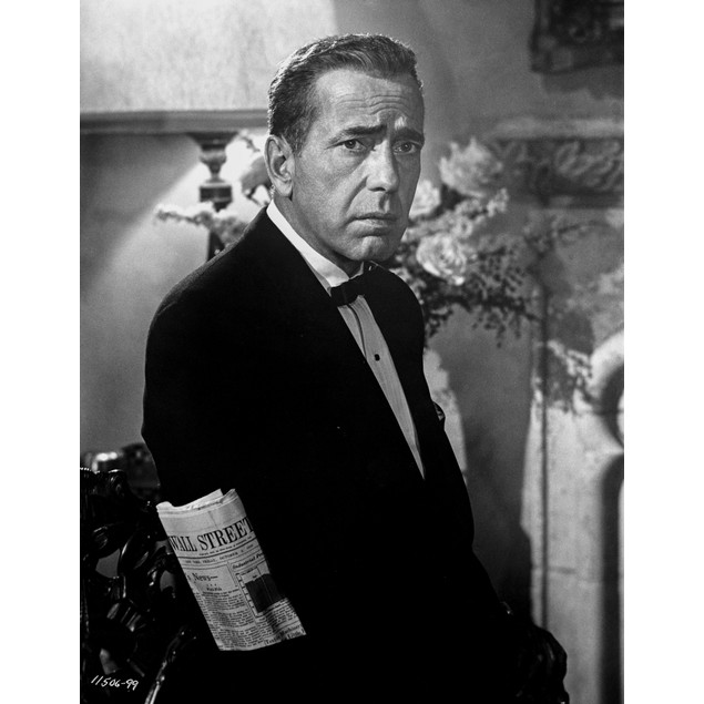 Humphrey Bogart in suit with the Wall Street Journal  Hi Poster