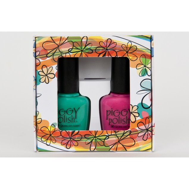 2 pack-Piggy Polish Flowery Colorful Complimentary Colors