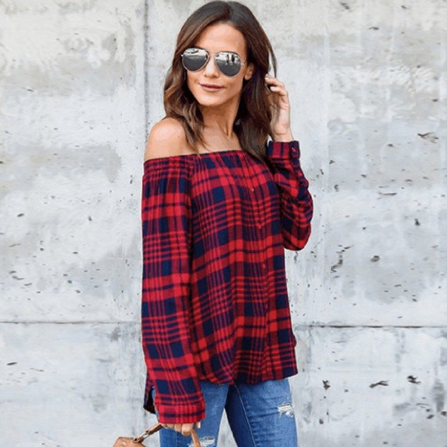Women's Casual Plaid Off Shoulder Long Sleeve Shirt Tops Blouse